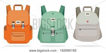 Schoolbag flat illustration set. Bag for school.
