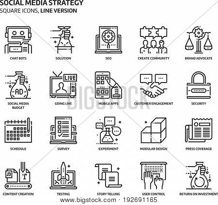Social Media Strategy, Square Icon Set