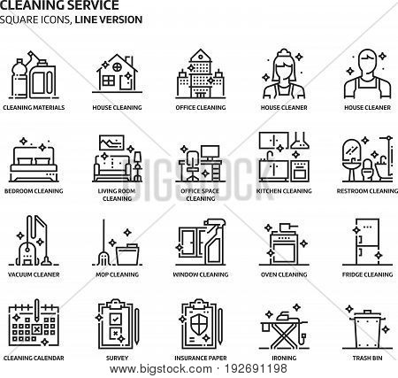 House Cleaning Service, Square Icon Set