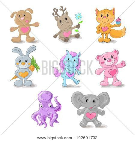 Set from cute animals dog, deer, Fox, rabbit, pony, Teddy bear, elephant sea beast Vector illustration