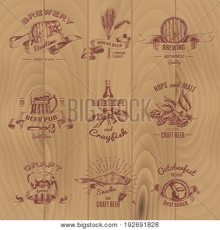 Beer vintage design emblems of pubs shop and breweries set on wooden planks background isolated vector illustration