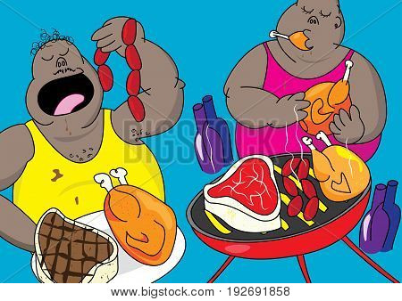 american barbecue party pig out vector illustration