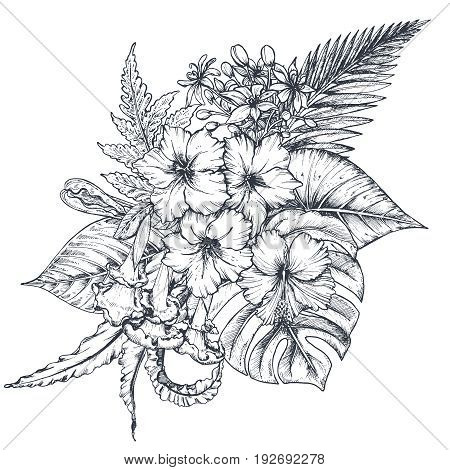 Vector composition of hand drawn black and white tropical flowers, palm leaves, jungle plants, paradise bouquet. Beautiful floral illustration in sketch style
