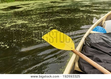 Having a rest in a canoe on a river