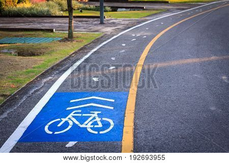 Bicycle lane, Bicycle track with road in public park for designed to make cycling safer.