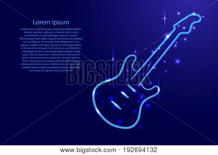 Blue guitar outline with luminous cosmic stars.