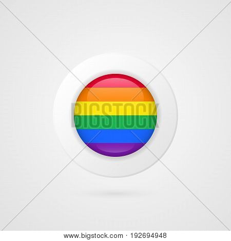 Vector LGBT flag sign. Isolated lesbian gay bisexual transgender rainbow circle symbol. Glossy illustration icon for pride parade project advertisement sport event travel web design badge logo