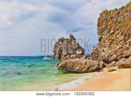 Tropical beach with stones and big rock. Sea beach view. Holiday on tropical island. Exotic seaside digital painting. Still sea water and sunny beach poster. Relaxing paradise landscape with ocean