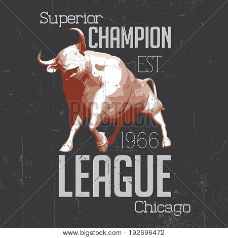 Superior Chicago Champion Poster with one bull in the centre vector illustration