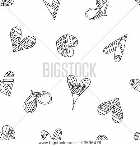 Vector Hand Drawn Seamless Pattern, Decorative Stylized Black And White Childish Hearts. Doodle Sket