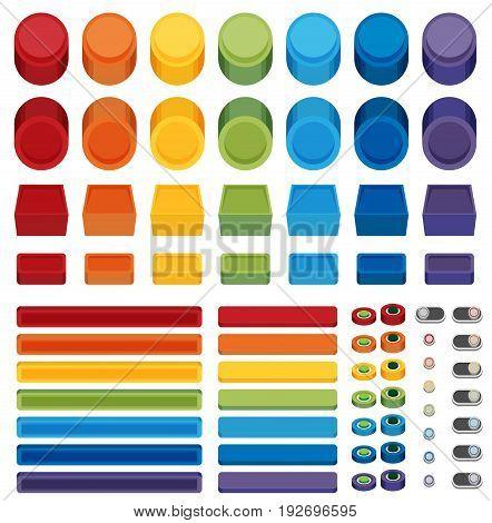 Rainbow Flat Web Buttons set for design