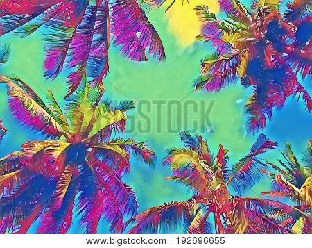 Palm tree crown with green leaves on rainbow sky. Coco palm tree top digital illustration. Palm leaf silhouette frame. Fantastic poster. Summer travel banner. Exotic island seaside nature background