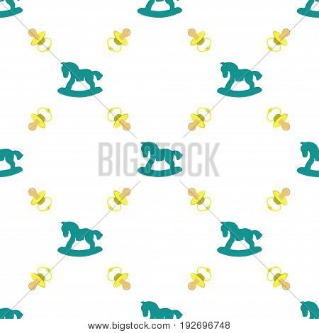 Seamless pattern with baby pacifier and Rocking horses