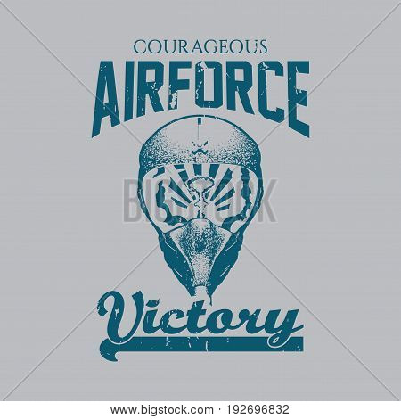Creative Design Victory Poster with words courageous airforce on effective background vector illustration