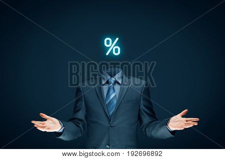 Discount and sale concept represented by percentage sign and businessman (or marketer).