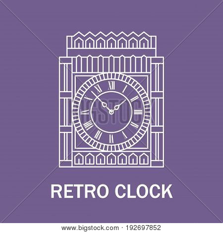 Time and clock sign. Watch icon. Line style illustration isolated. Retro design
