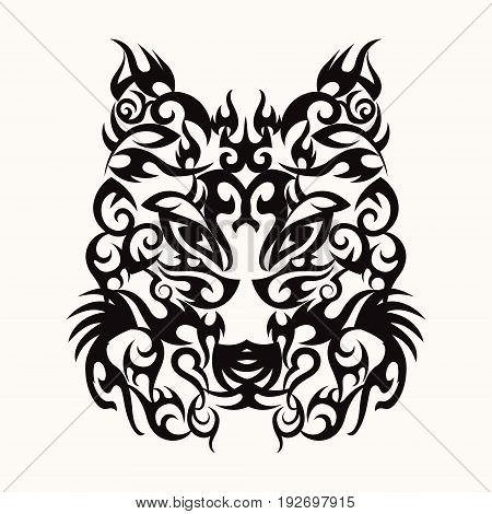 Vector Wolf head art tattoo design tribal style black wolfs head on white isolated background
