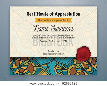 Mandala Bordered Certificate of Appreciation Template Design for Yoga class. Vector illustration