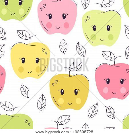 Cute hand drawn apple seamless pattern. Sweet food vector background. Delicious summer design. Wrapping, print, wallpaper with fresh fruit tasty treat. Cartoon kid illustration