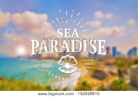 Sea Paradise Hotel logo with seashell. Elegant typography badge on blurred background. Vector template.