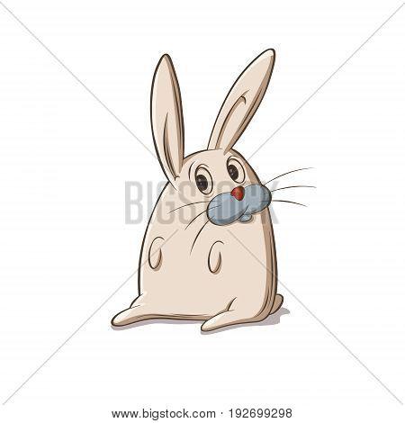 bunny sitting, vector image, Cartoon character illustration