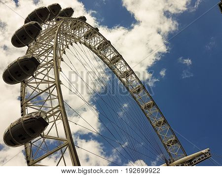 London UK - June 15 2017: Detail of London Eye (London UK). Millenium Eye is the world's largest wheel 135 meters high and 120 meters wide in diameter.