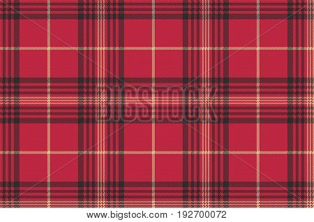 Red check plaid tartan seamless pattern. Vector illustration.