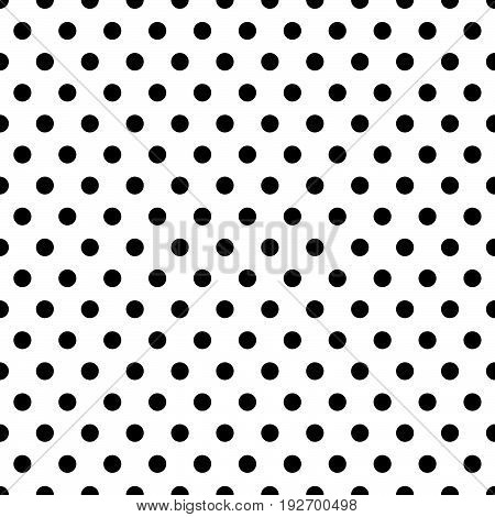 Seamless Circles, Dots Pattern. Seamlessly Repeatable Polka Dot Background. Black And White Version(