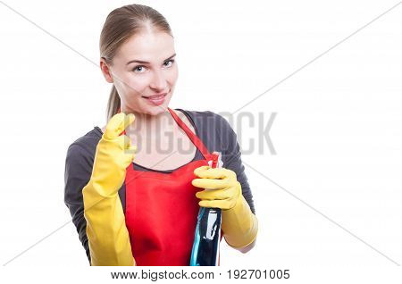 Portrait Of Attractive Maid With Cleaning Spray