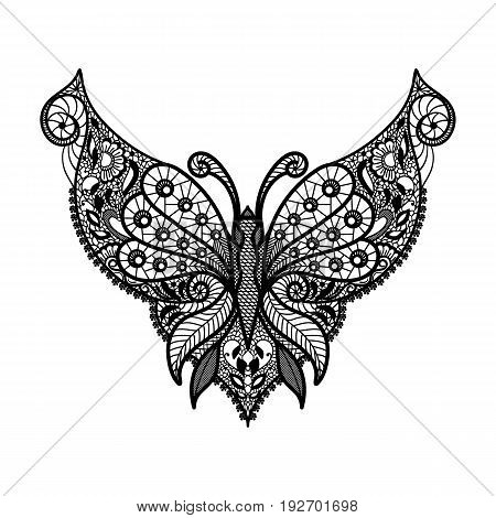 Vector lace neckline. Neck print with butterfly shape and floral ornament. Decorative element for design and fashion