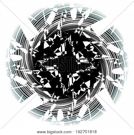 Textured Geometric Abstract Monochrome Shape. Radial, Radiating Design Element