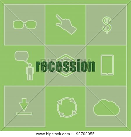 Business Concept. Words Recession . Icon And Button Set