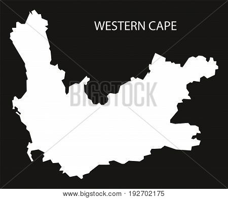 Western Cape Of South Africa Map Black Inverted Silhouette Illustration