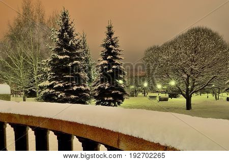 Magnificent winter landscape in a night city park. View from the granite balustrade covered with fluffy snow