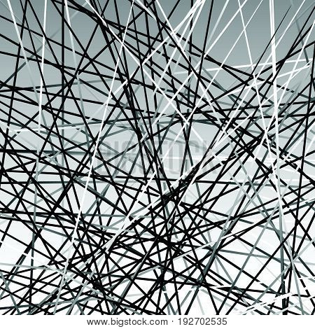 Chaotic Grayscale Lines Texture. Abstract Geometric Illustration