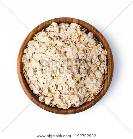 Oatmeal flakes isolated on white background