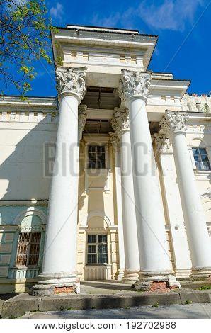 Fragment of destroying former House of officers Polotsk Belarus