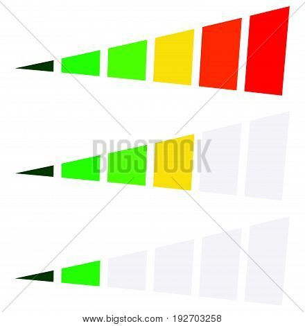 Progress Bar, Level Indicator In Perspective. 6-step Progress Bar With Green, Yellow, Red Colors. Pr