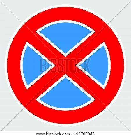 European No Parking Sign. No Parking Icon, Symbol.