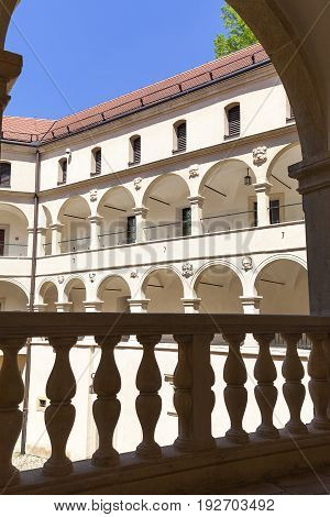 14th century defense Castle Pieskowa Skala arcade courtyard near Krakow Poland. Located in Ojcowski National Park is one of the best-known examples of a defensive Polish Renaissance architecture