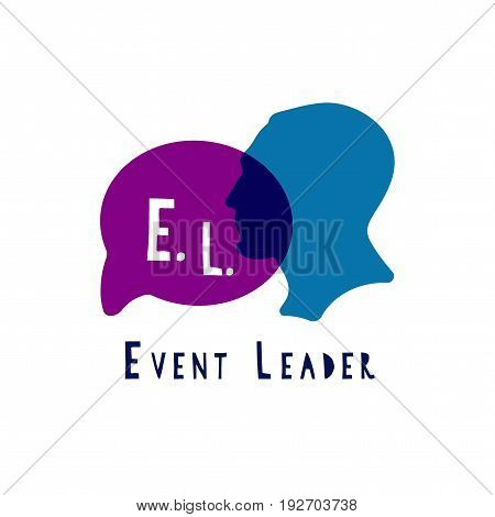 Event manager logo. Seminar Speach man logo
