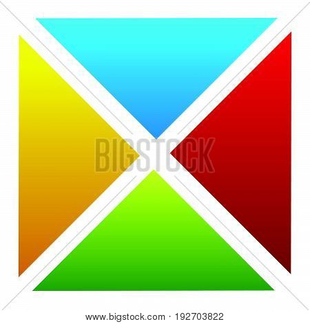 Simple Segmented Multicolor Square. Colorful Square Design Element. Square Icon