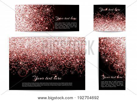 A collection of banners with shimmering pink lights. Glitter pattern on a black backdrop.