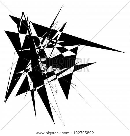 Edgy Rough Intersecting Monochrome Shape Isolated On White. Abstract Textured Element