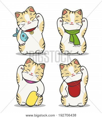 Maneki neko japan cat doll set. Charming vector hand drawn chinese or japanese lucky cat mascot isolated on white background