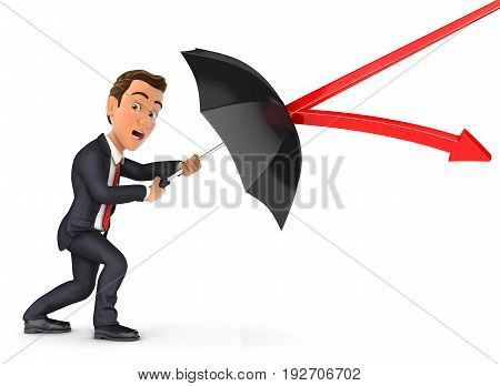 3d businessman stopping arrow with umbrella illustration with isolated white background