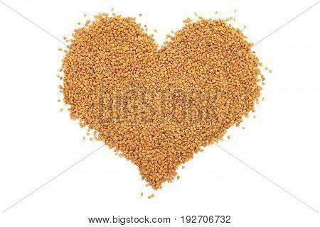 Dried Fenugreek Seeds In A Heart Shape