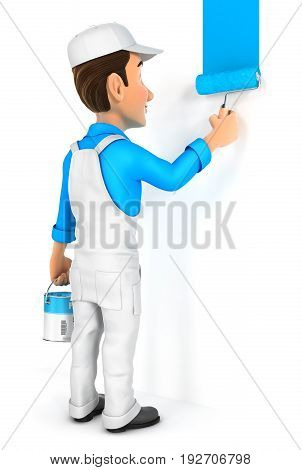 3d painter painting wall illustration with isolated white background