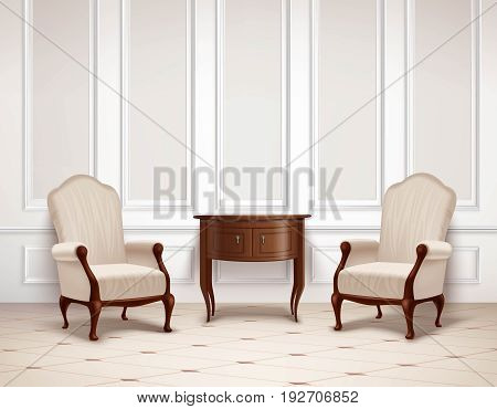 Classic interior design with molding on wall, dark wooden table and armchairs on  light floor vector illustration