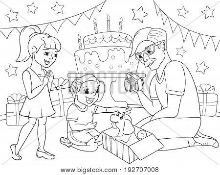 Childrens cartoon coloring of the holiday. Birthday with gifts, a memorable shot. The boy present a puppy to the boy. Black lines on a white background